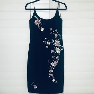 Maggy London Beaded Straps Black Floral Dress